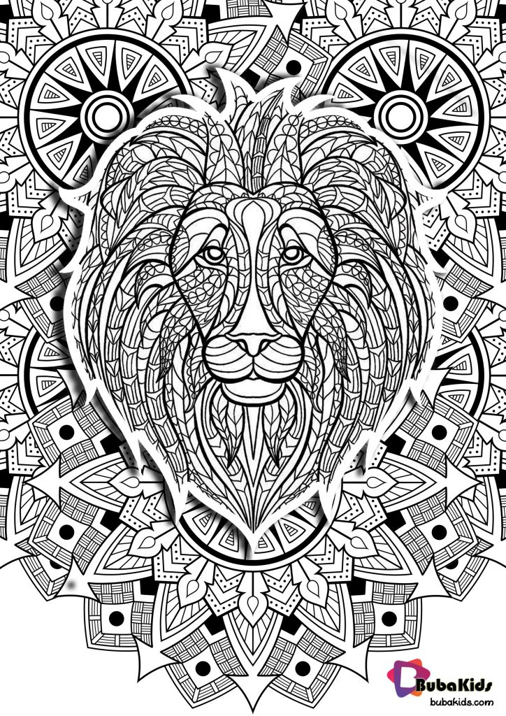 Mandala With Lion King Special Coloring Pages
