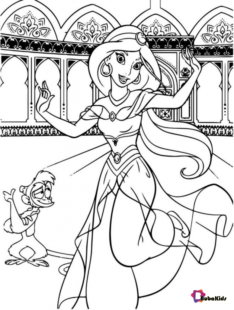 Princess-Jasmine-And-Abu-Dancing-Aladdin-Coloring-Page-775x1024 Princess Jasmine And Abu Dancing Aladdin Coloring Page on bubakids.com Cartoon