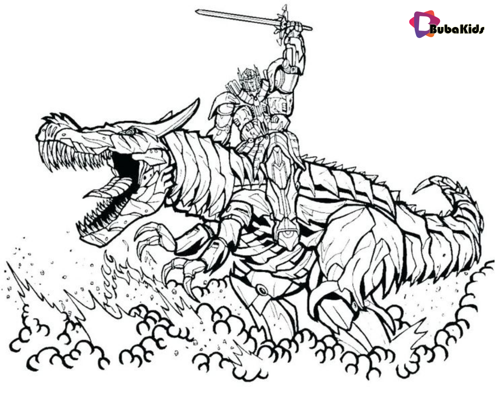 Transformers Coloring Pages Bumblebee riding dragon Coloring Pages Wallpaper