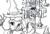 Cute Dog Happy Halloween Trick Or Treat Coloring Page