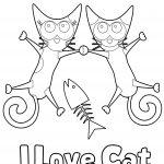Cute I Love Cat Printable Coloring