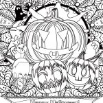 Happy Halloween Pumpkin and Cat Coloring Page