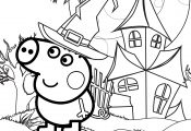 Peppa Pig Happy Halloween Coloring Page