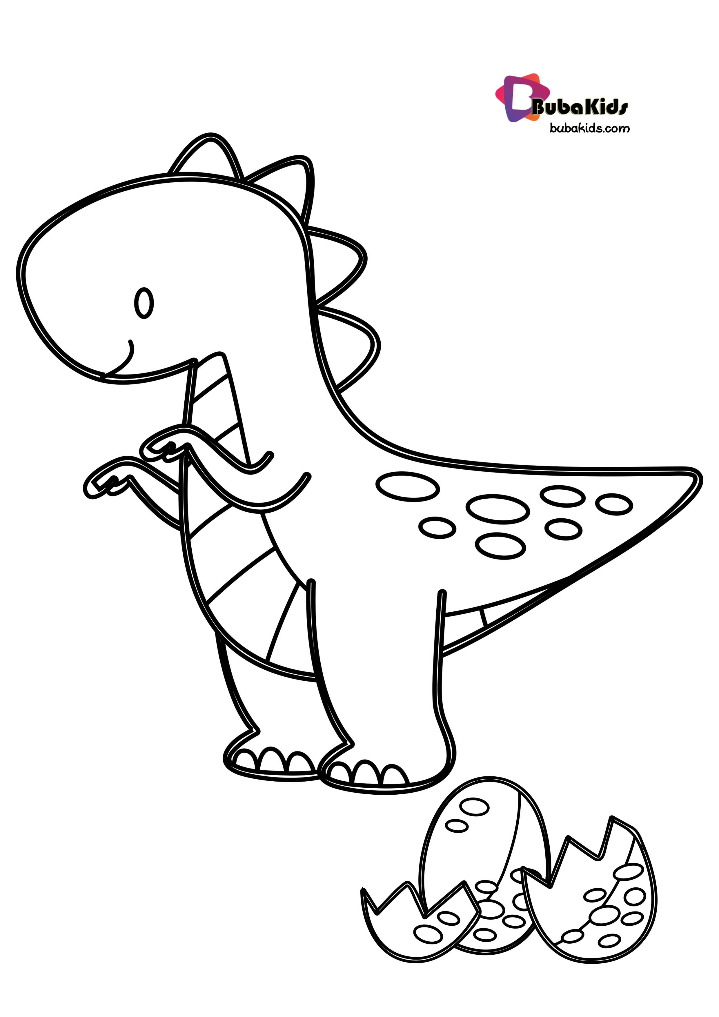 Baby TRex Coloring Page With Egg