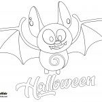 Bat Welcome October Happy Halloween Coloring Page
