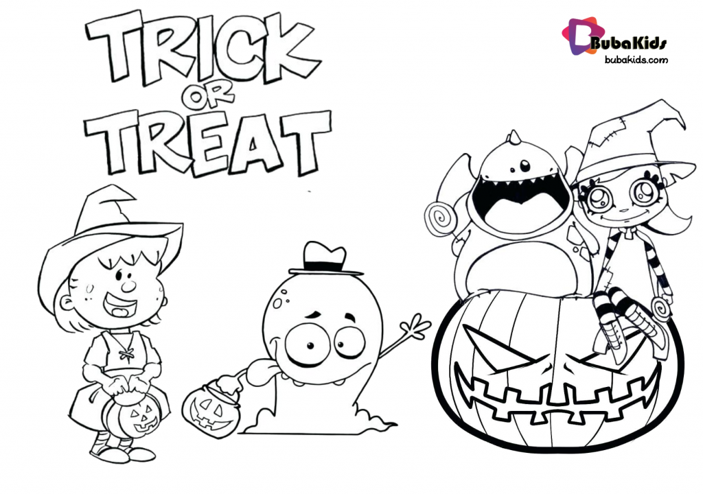 halloween-trick-or-treat-coloring-pages-on-bubakids-1024x720 Treat or trick halloween free printable coloring pages. Cartoon