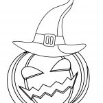 Pumpkin With Witch Hat Coloring Page