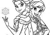Special Disney Princess Anna & Elsa Coloring Page