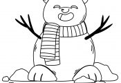 Bear Head Snowman Coloring Page