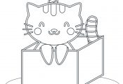 Cat in The Box Coloring Page