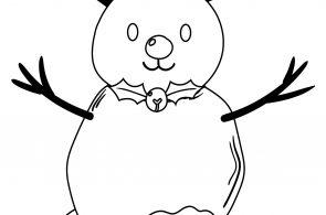 Cute Deer Snowman Coloring Page