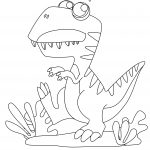 Cute T-Rex Coloring Page Printable For Kids