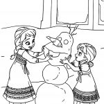 Little Princess Anna and Elsa Coloring Page