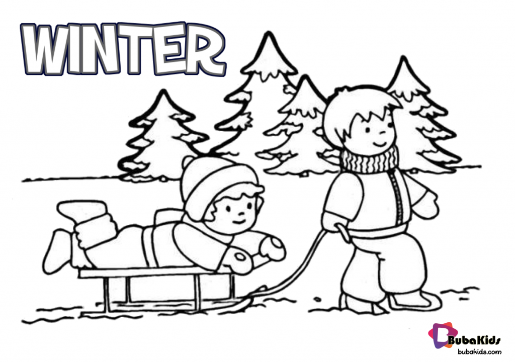 winter-coloring-page-1024x720 Free printable Winter coloring page. Cartoon