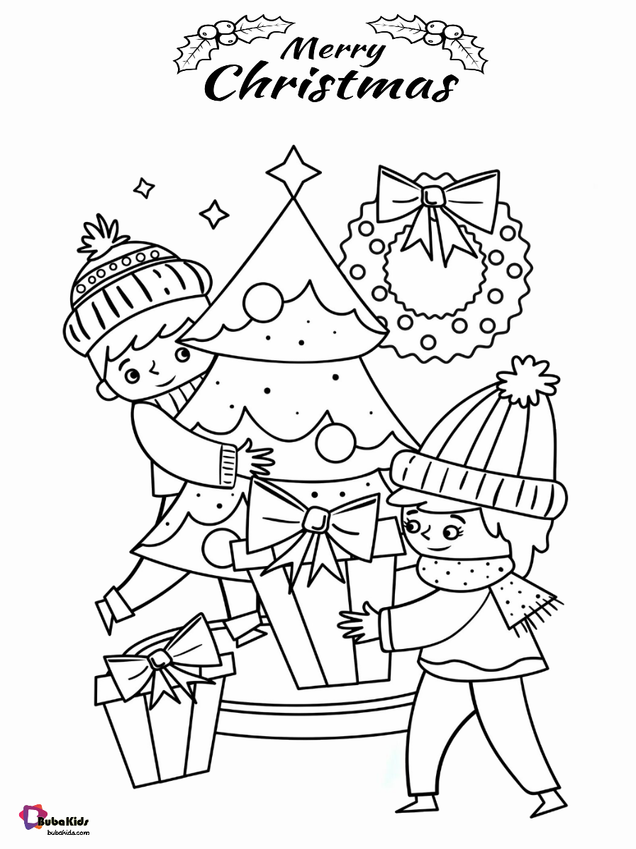 Christmas printable coloring pages for kids. Wallpaper