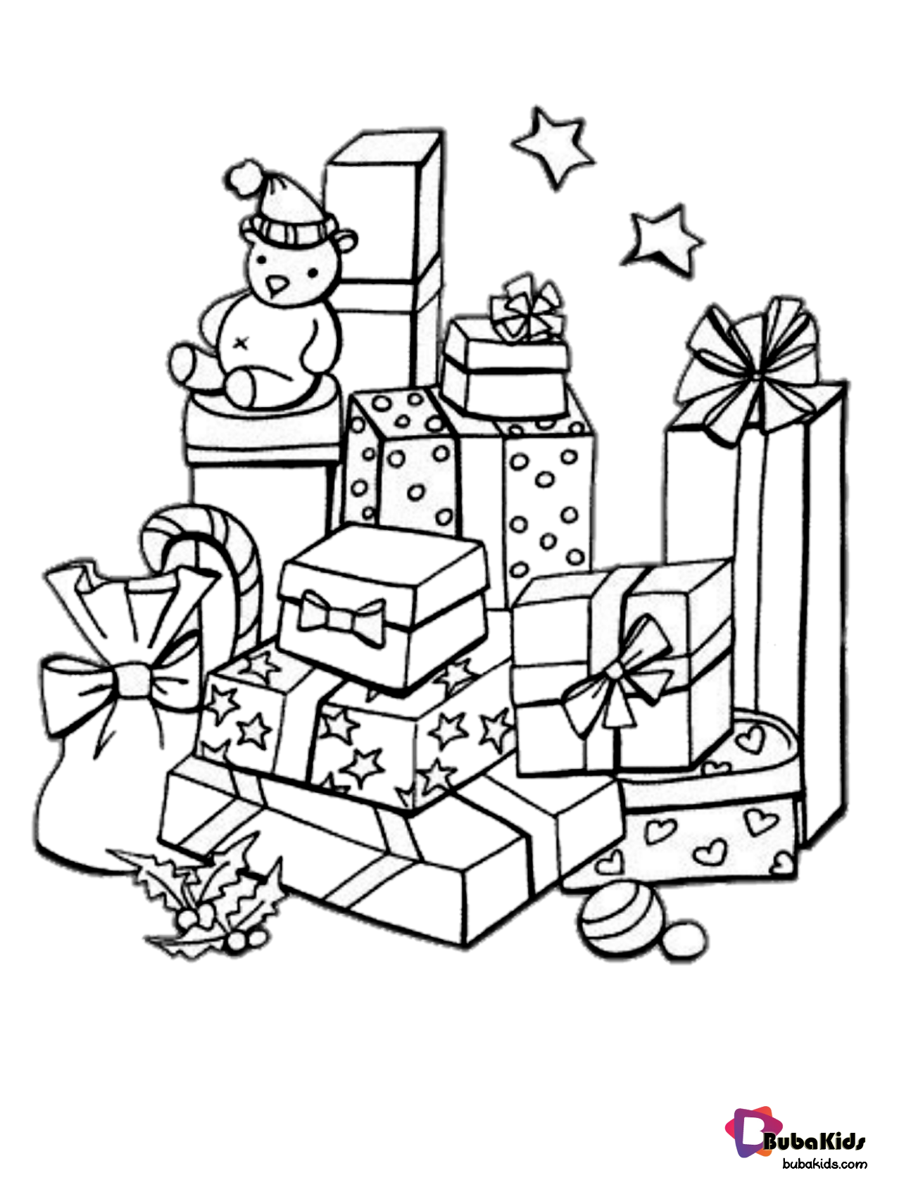 Free download and printable christmas gifts coloring picture Wallpaper