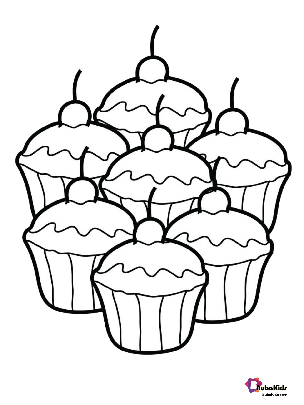 Easy coloring Food coloring page cupcakes. Wallpaper