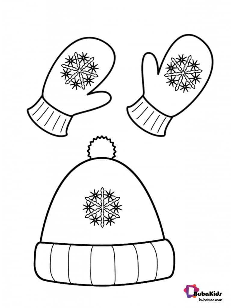 winter-hat-and-gloves-coloring-page-768x1024 Free Winter hat and gloves coloring page. Cartoon