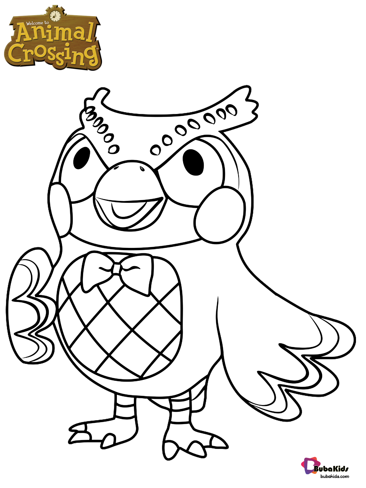 Blathers the owl animal crossing character coloring page Wallpaper