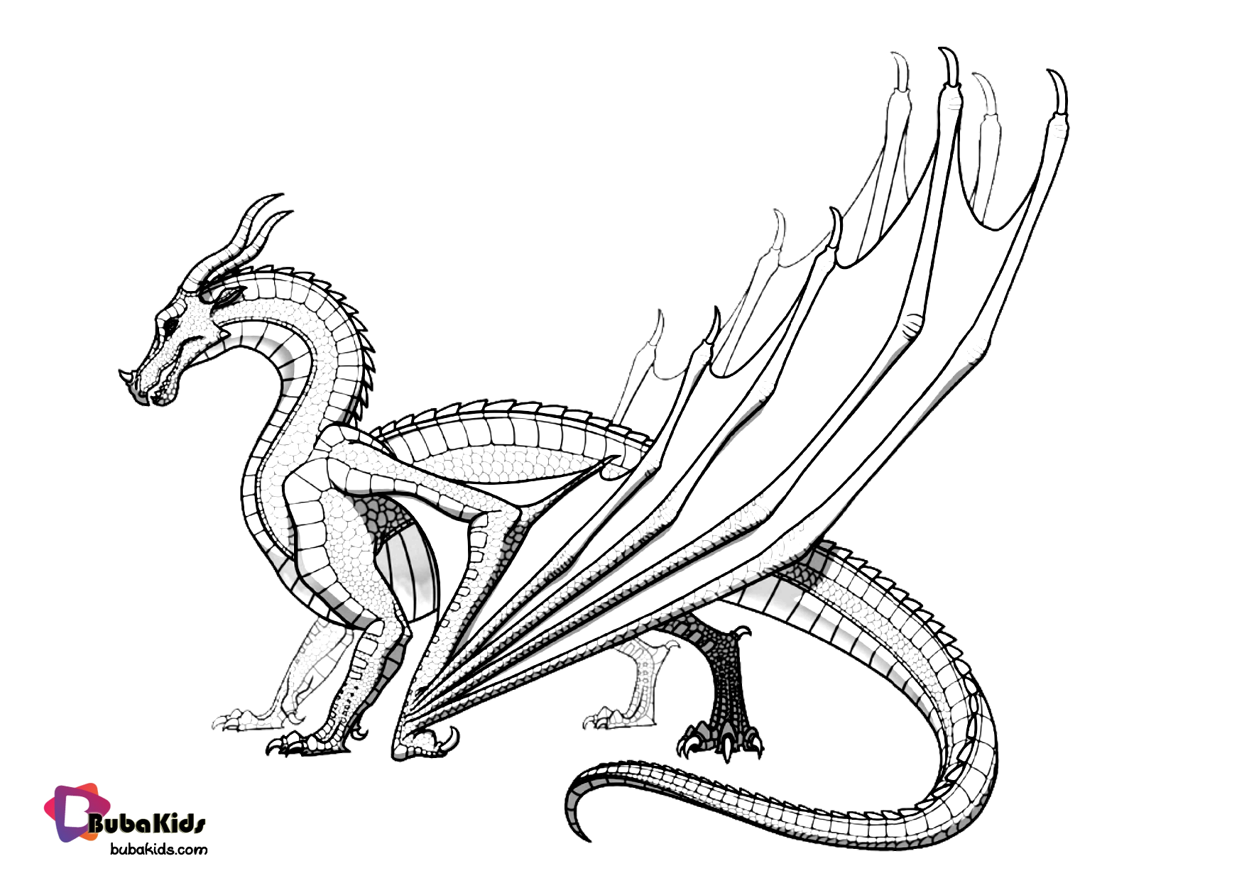 Dragon, the legendary monster coloring page. Wallpaper