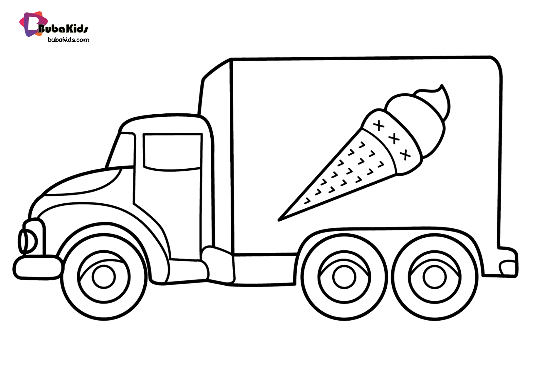 Free download to print ice cream truck coloring page Wallpaper