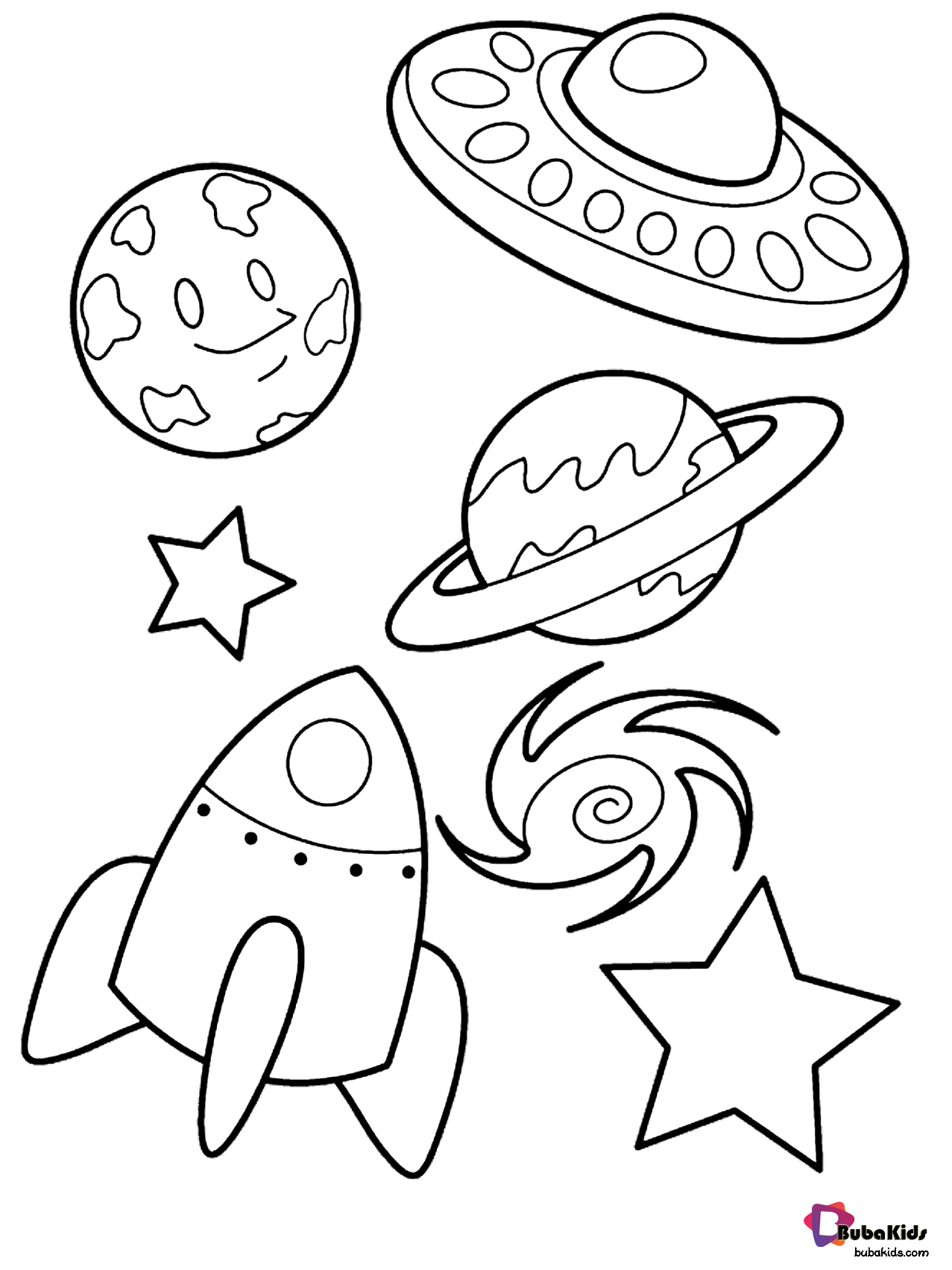 Alien space ship planets stars and rocket outer space ...