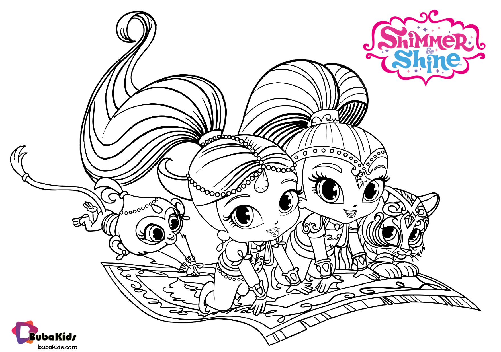 Shimmer and Shine on flying carpet coloring pages Wallpaper