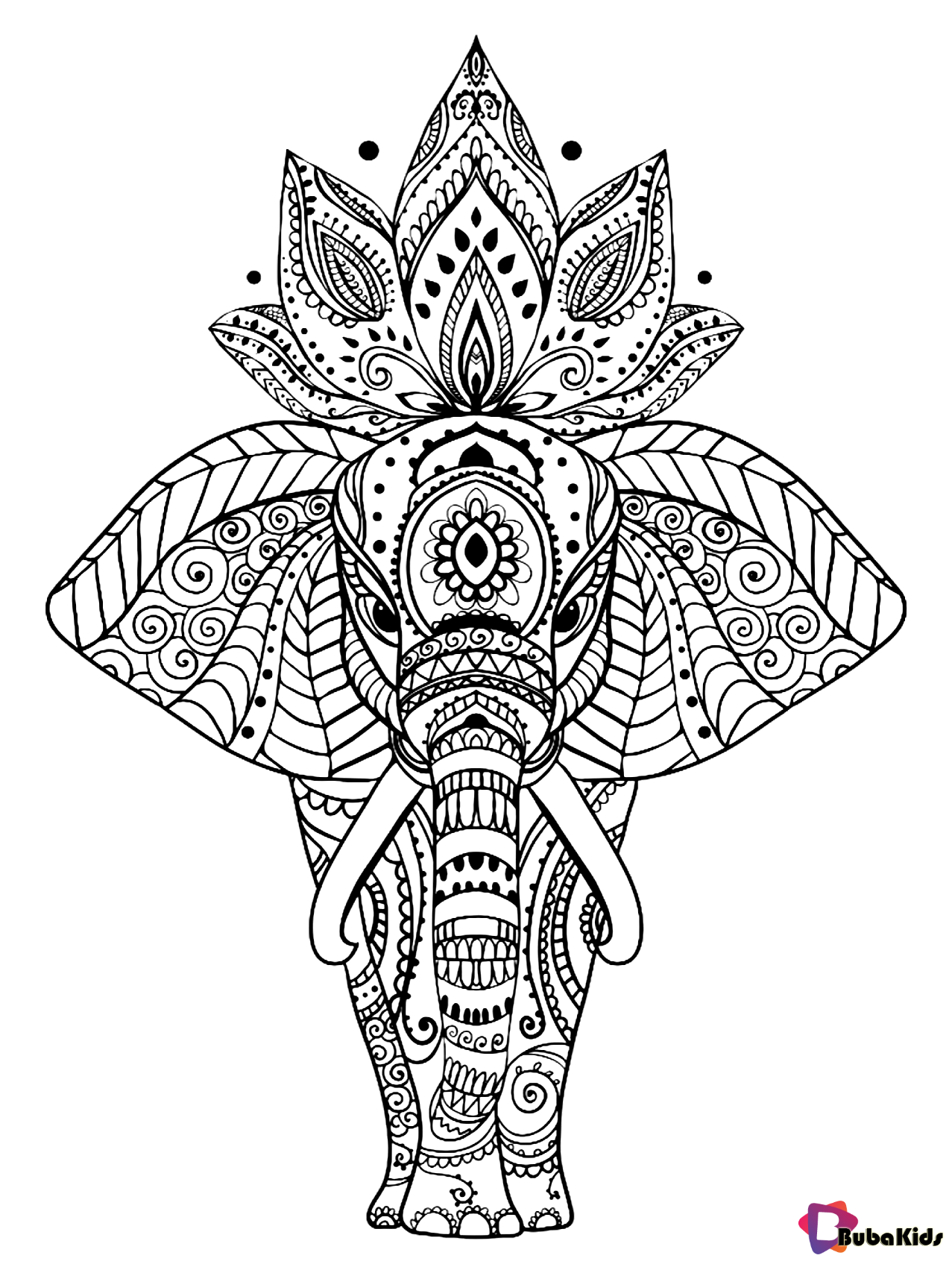 Animal elephant mandala coloring page for kids and adults ...