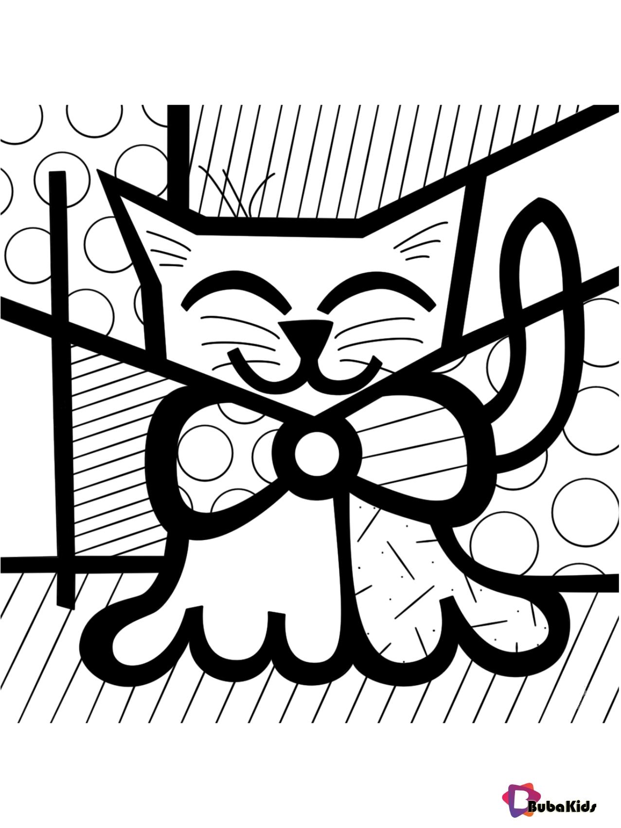 Cute Cat by Romero Britto coloring page Wallpaper