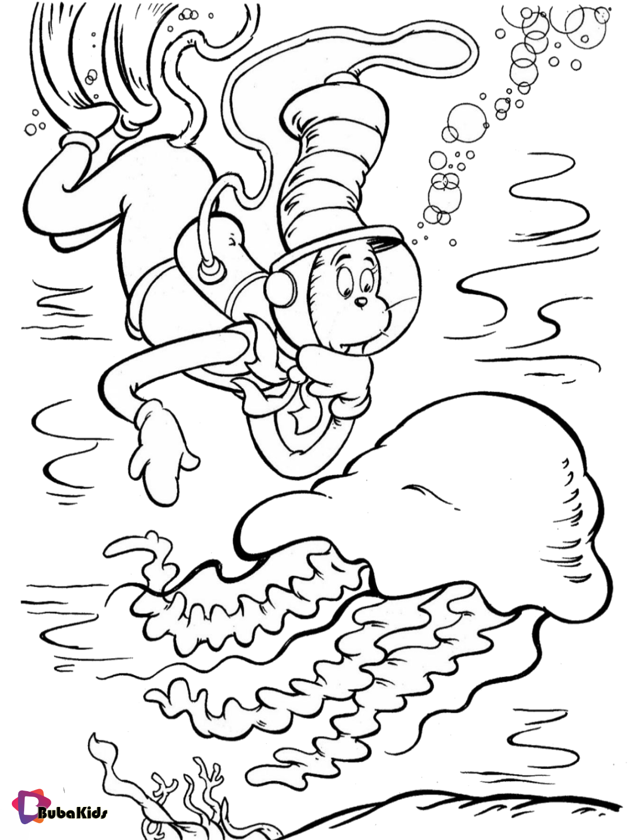 Dr seuss The Cat in The Hat jellyfish coloring page Wallpaper