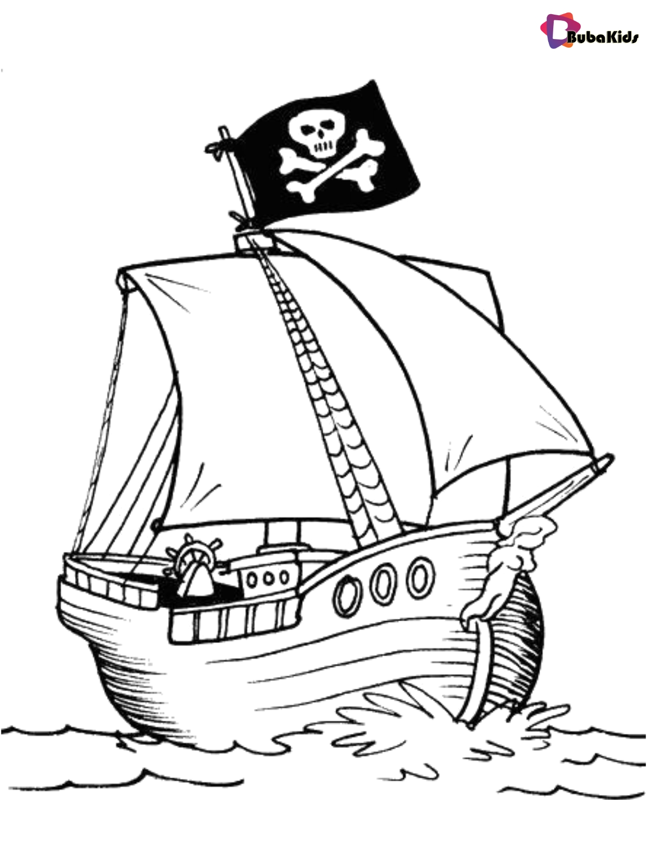 Coloring picture pirate ship free printable Wallpaper