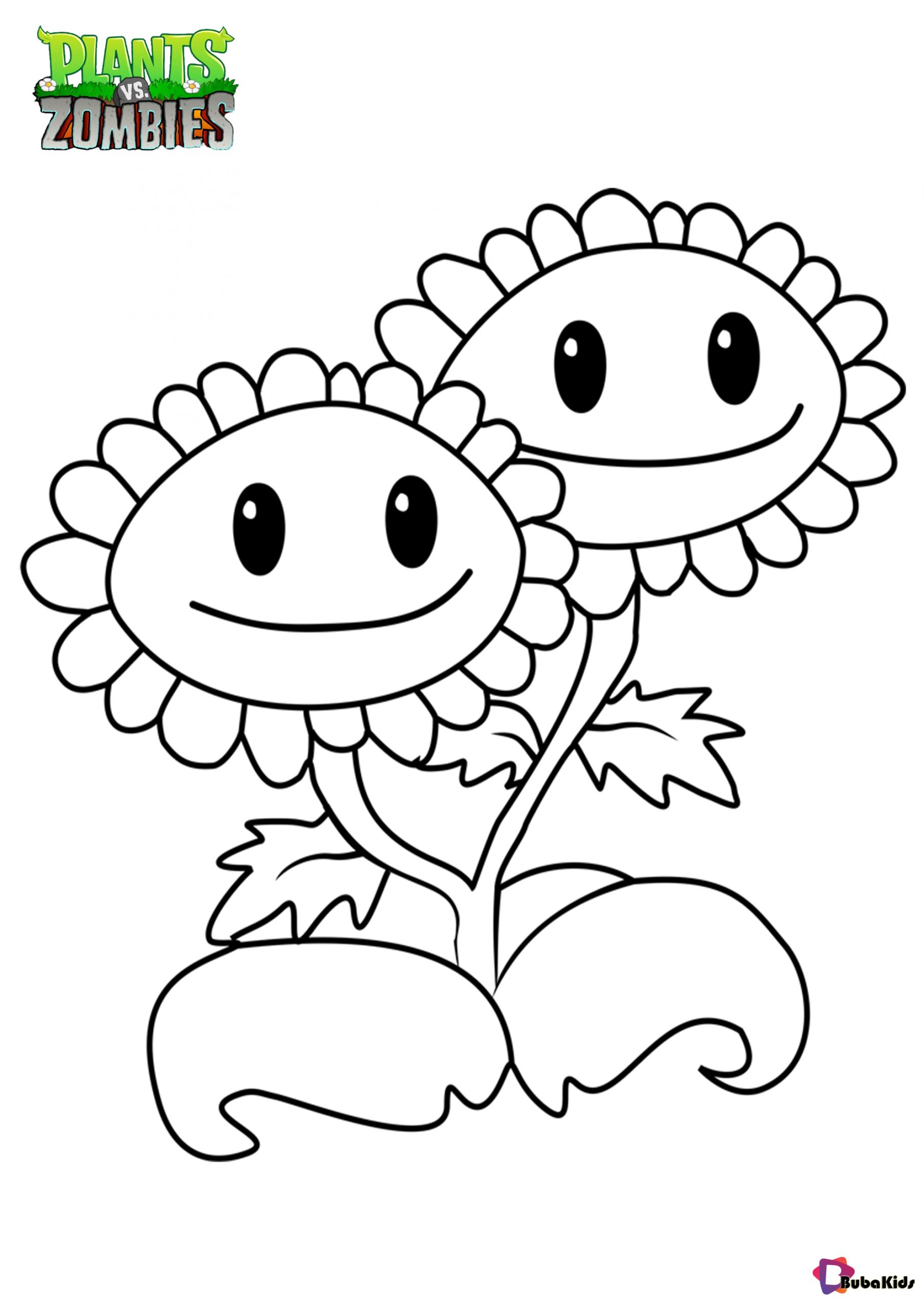 Plants vs zombies Twin Sunflower coloring page Wallpaper