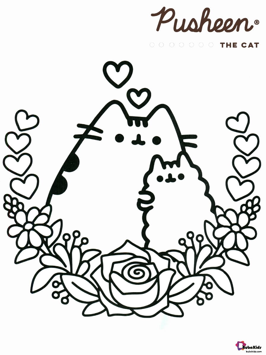 Pusheen the cat and friend with flowers coloring page Wallpaper