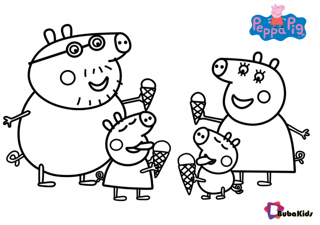 Peppa pig family and ice cream coloring pages - BubaKids.com