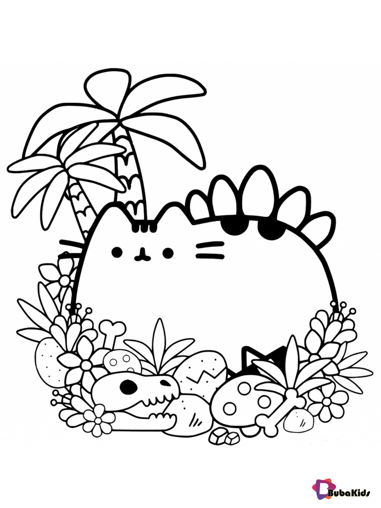 Free download and print Pusheen coloring page Wallpaper