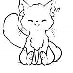 Kawaii Cat Coloring Page Bubakids