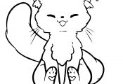 Kawaii Cat Coloring Page Bubakids