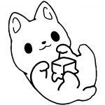 Kawaii Kitten Playing Box Coloring Page
