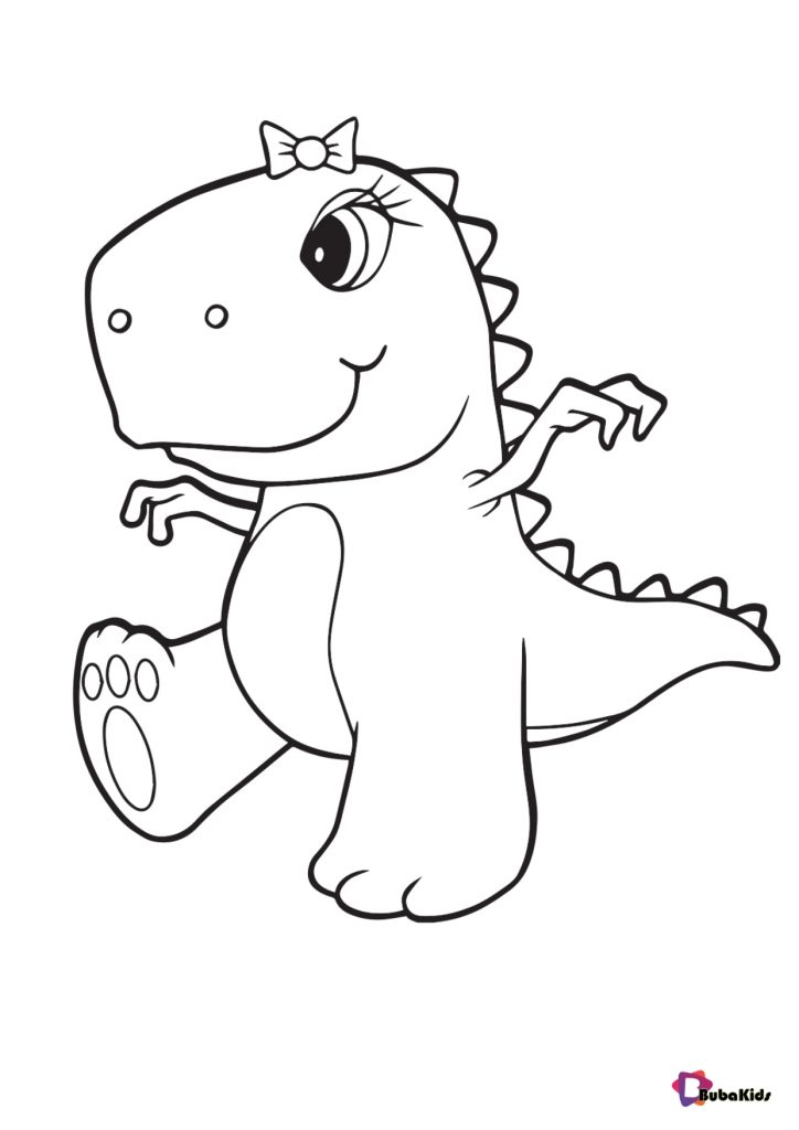 Cute little dinosaur baby colouring pages - BubaKids.com