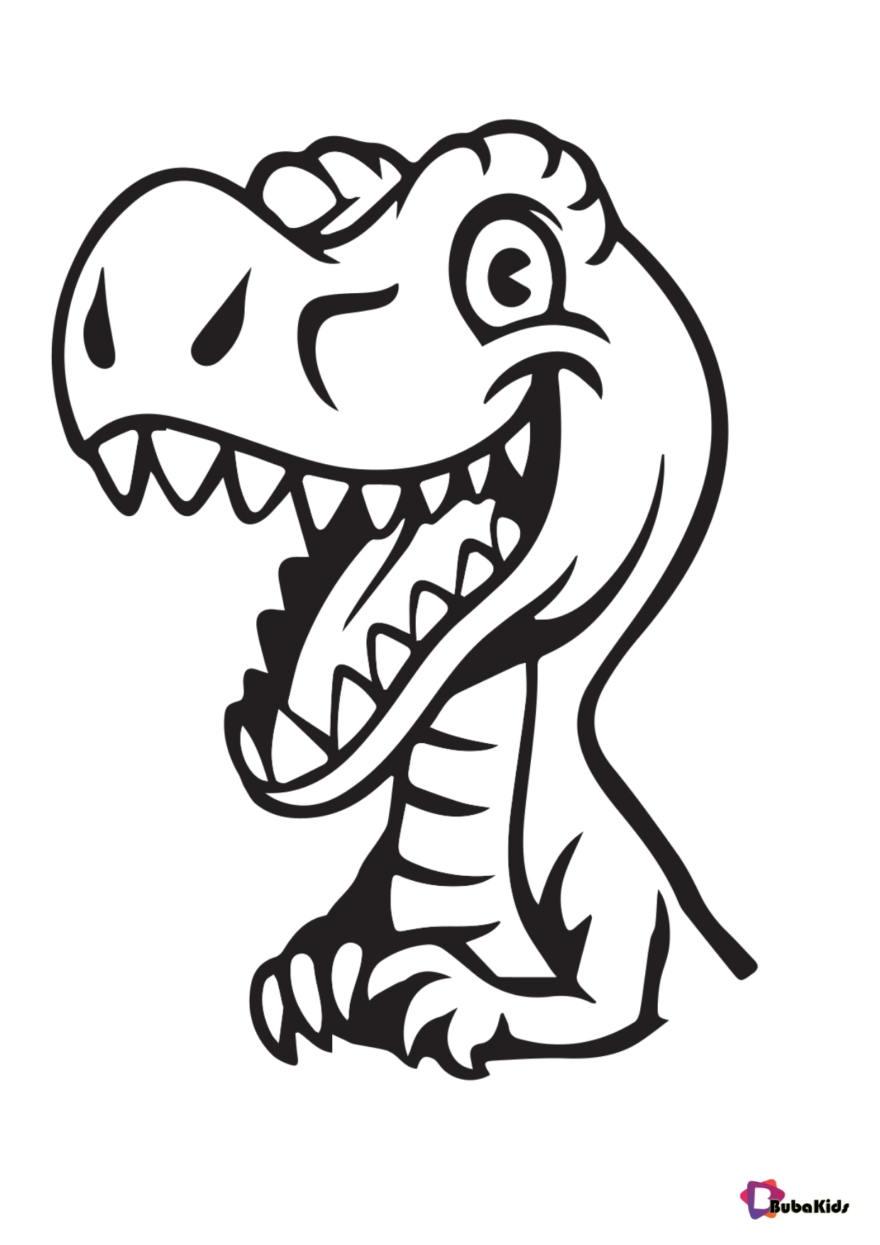 Smiling baby dinosaur coloring page for kids Wallpaper