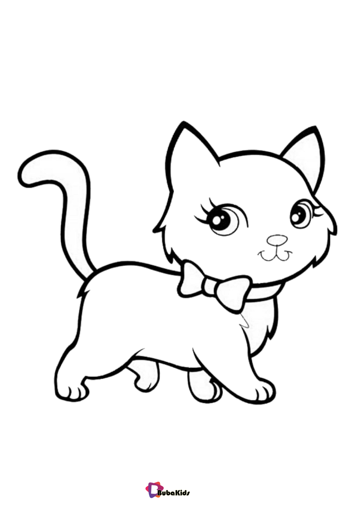 Cute kitten coloring page for kids colouring pages Wallpaper