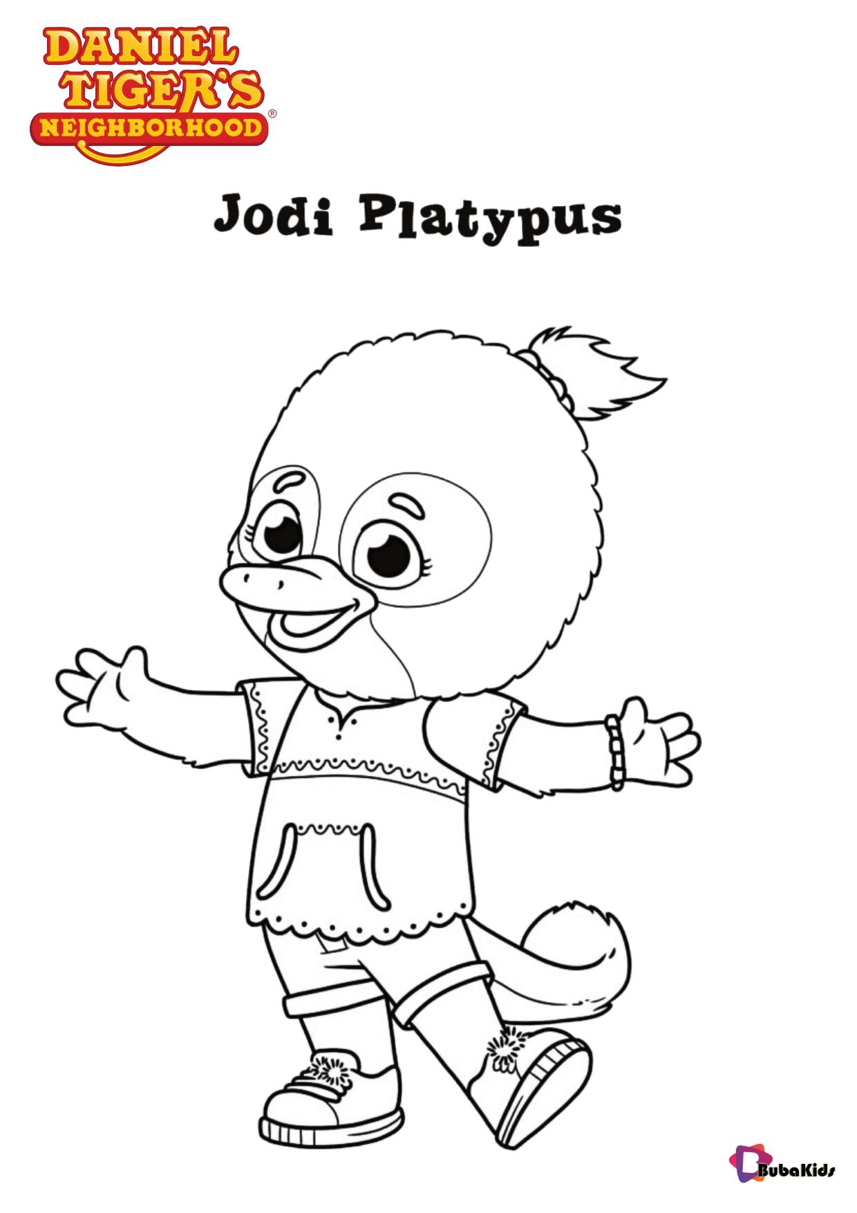 Jodi Platypus character Daniel Tiger's Neighborhood children tv serials coloring page Wallpaper