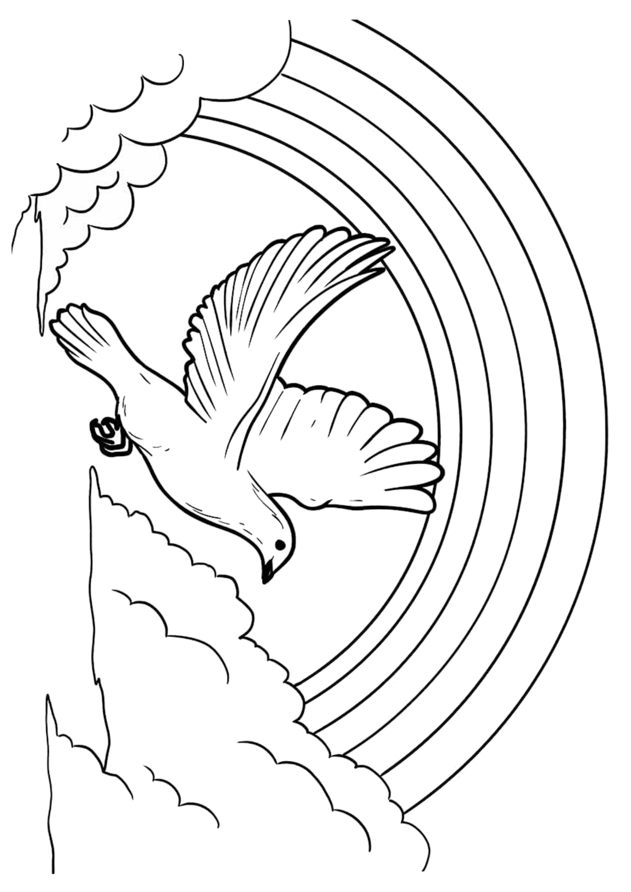 White dove flying and rainbow coloring page Wallpaper